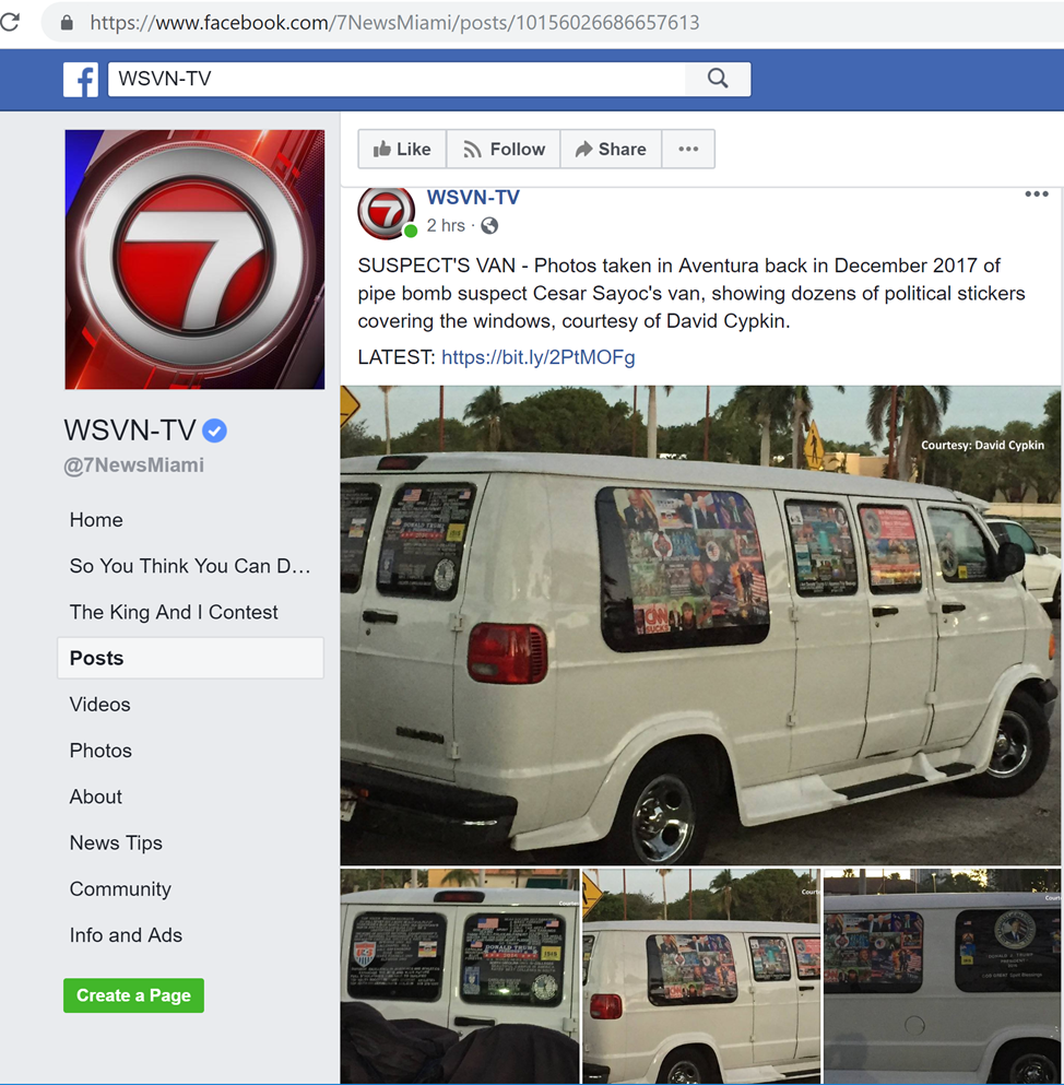 WSVN-7 Facebook Post of Van Images from December 2017