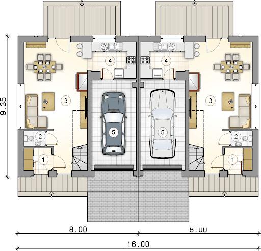 Double House III - Rzut parteru