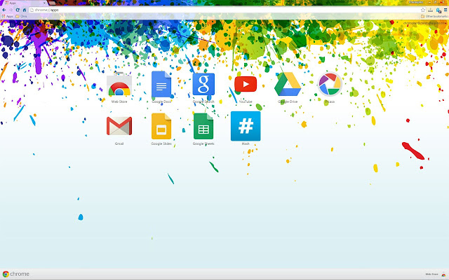 A Colorful Paint Splashes Chrome Theme