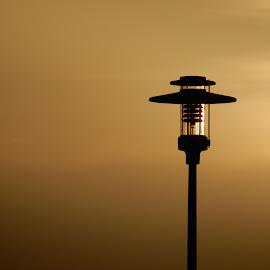 Black lantern by Adrian Pięta - Artistic Objects Other Objects ( lantern, sunset, silhoutte, gold, black )
