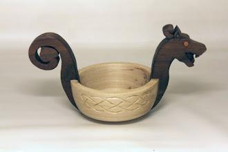 """Photo: John Laffan 9"""" x 5"""" x 5""""  dragon boat/ mead bowl [walnut, poplar]"""