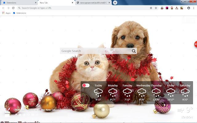 Christmas Puppies & Kittens New Tab HD