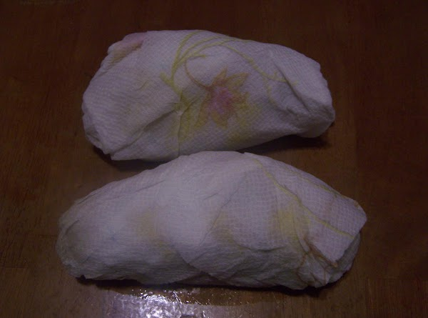 Wrap potatoes separately & completely in paper towels. Then, moisten with water.