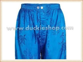 กางเกงใส่นอน ชุดนอนผู้ชายขายาวผ้าแพรจีนแท้เอวยางคนอ้วน ขนาดใหญ่พิเศษ XXL สีฟ้าสด
