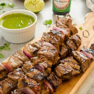 Honey Soy Steak Kebabs with Cilantro Lime Sauce.