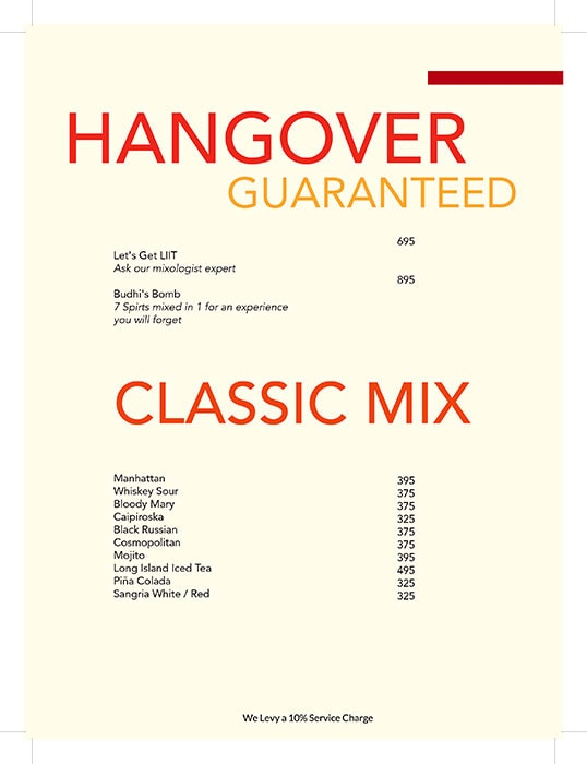 Hangover Brewery menu 7