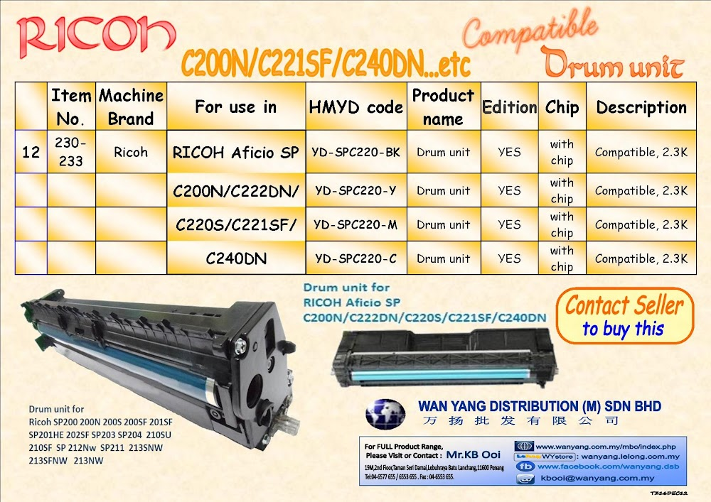 Ricoh SP C200N/C221SF/C240DN etc.Compatible Drum Units