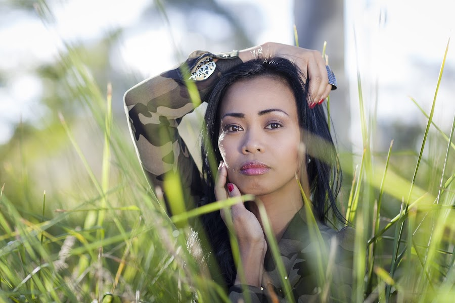 Camouflage in Grass by Loi Huynh - People Portraits of Women ( one woman only, one person, joy, purity, good posture, sensuality, cute, imagination, people, fashion model, attractive female, nature, young women, only women, wellbeing, grass, expressing positivity, healthy lifestyle, beauty in nature, relaxation, loving, vitality, women, concepts, one young woman only, enjoyment, concepts and ideas, satisfaction, outdoors, summer, freshness, rural scene, lifestyles )