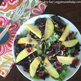 Cranberry, Pistachio, and Mango Salad with Coconut-Peanut Butter Dressing