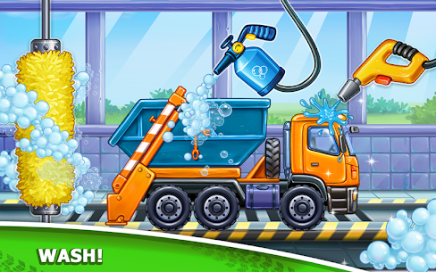 Truck games for kids – build a house, car wash 8