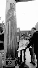 Photo: 1982 Church's mosaic pillar was completed in honor of the 800th anniversary of the birth of Saint Francis. The image of the saint was created by Ann Arbor artist John Copley. Tramontin Tile Company constructed the mosaic.