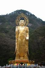Photo: Golden Maitreya Statue
