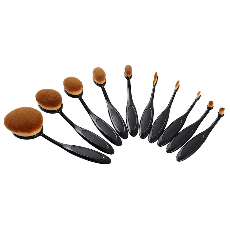 10 Pcs Toothbrush Shaped Oval Makeup Brushes Mermaid brush Eyeshadow Brush Set (Without box)