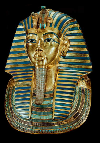 Image of Egyptian antiquite: gold mask of Tutankhamun being part of the Tresor of the Pharaoh - Around 1340 BC, From the tomb of All-Ankh-Amon (Tutankhamun or Tutankhamun), Valley of the Kings, Deir el Bahari (Dayr al-Bahri), 18th dynasty, Sun. 54 cm - Cairo, Egyptian Museum - Egyptian civilization: Golden funeral mask of the King Tutankhamun - From the Tomb of Tutankhamun, in Dayr al-Bahri, Valley of the Kings, 18th dynasty, h.54 cm - Egyptian National Museum, Cairo (Egypt), Egyptian 18th Dynasty (c.1567-1320 BC) / Egyptian, Egyptian National Museum, Cairo, Egypt © Luisa Ricciarini / Bridgeman Images