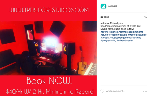 A super red recording studio at Treble Girl Studios, a Setmore user.