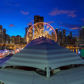Navy Pier Blue Hour... by Jamie Link - City,  Street & Park  Skylines ( chicago skyline, willis tower, award winning landscapes, jamie link photography, hdr, chicago panoramic, chicago landscape photography, aeon center, hdr photography, prudential building, buckingham fountain, chicago, sears tower, cityscape panoramic photography, chicago blue hour panoramic, grant park )