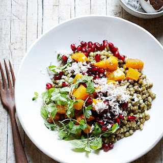 Mung Bean Salad with Butternut Squash and Grated Coconut.