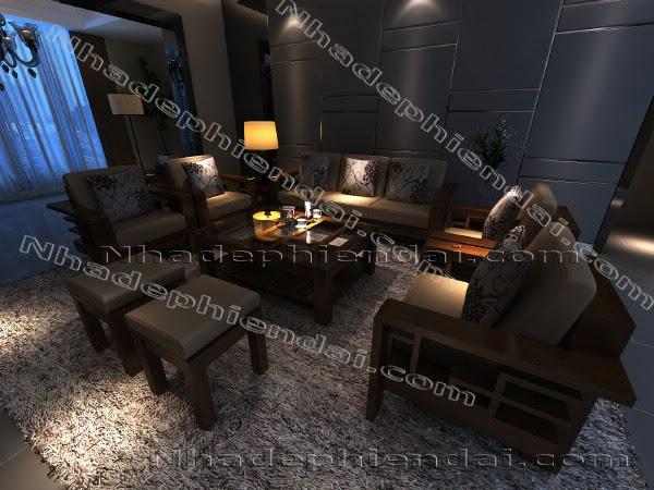 Các kiểu bố trí bàn ghế gỗ óc chó hiện đại phòng khách – NHD3375