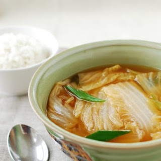 Baechu Doenjang Guk (Korean Soybean Paste Soup with Napa Cabbage).