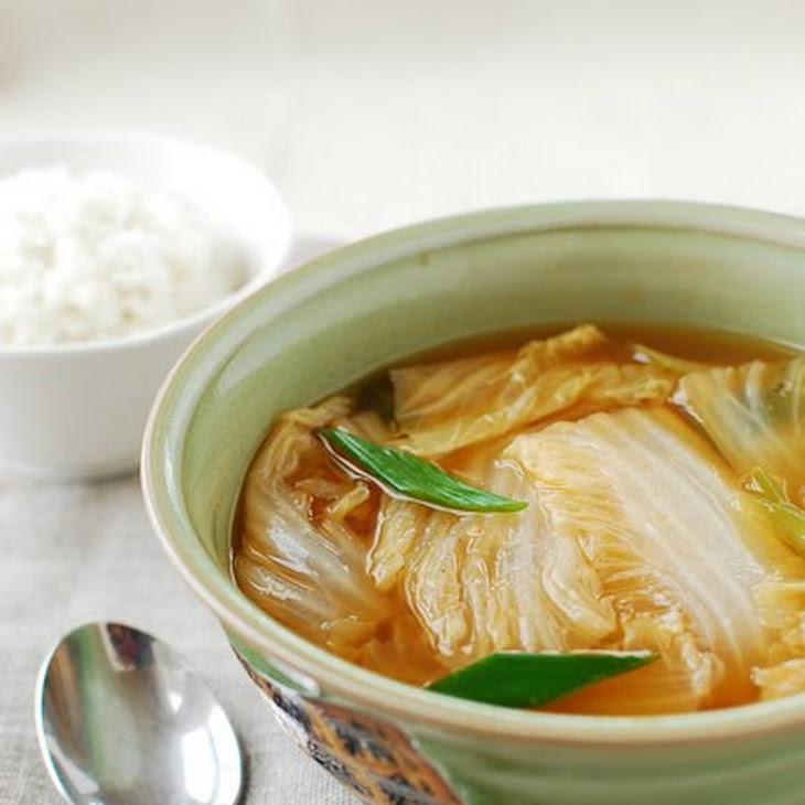 Baechu Doenjang Guk (Korean Soybean Paste Soup with Napa Cabbage) Recipe