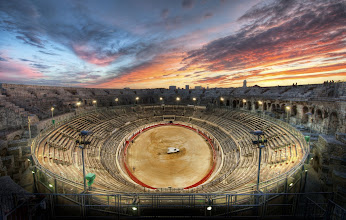Photo: Sunset after the Bullfight  The southern part of France still has many regular bullfights... if you zoom in close, you can still see blood in the sand...