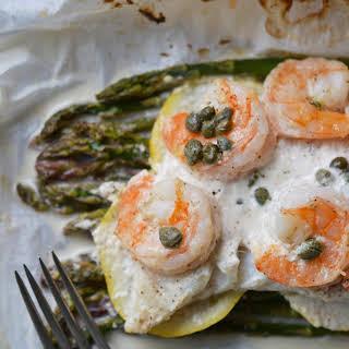 Lemony Mayonnaise Cod, Shrimp, and Asparagus Parchment Paper Wrapped Bundles.