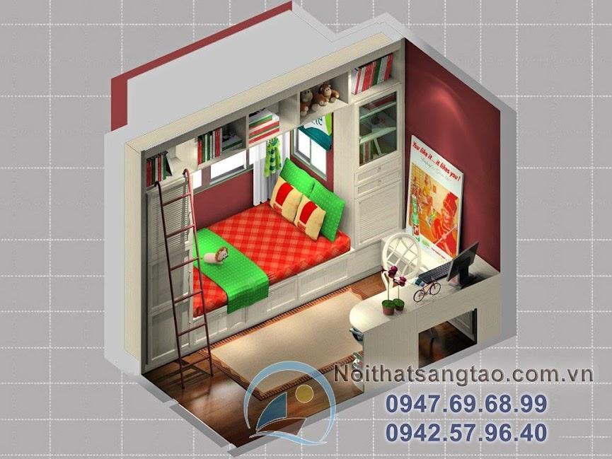 thiết kế phòng ngủ retro