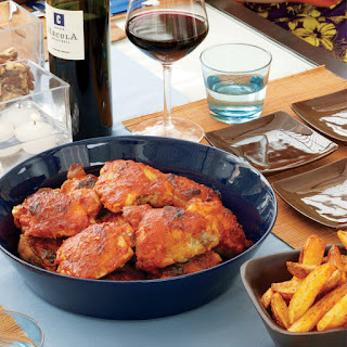 Chicken Thighs with Spicy Tomato-Pepper Sauce.