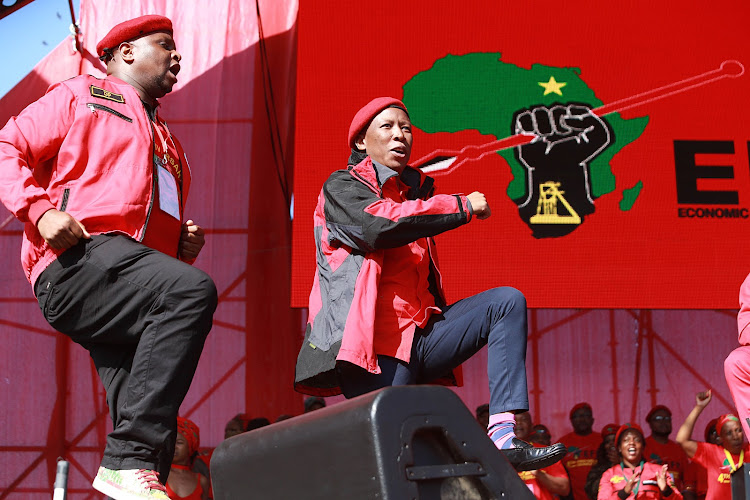 EFF deputy Flyod Shivambu, EFF leader Julius Malema at the EFF 4th annivesary celebration in Curris Fountain.