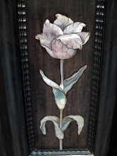 Photo: Mother of pearl work done so delicately it looked like the petals and leaves were coming out of the cabinet.
