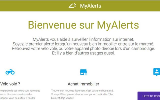 MyAlerts helps you to find something !