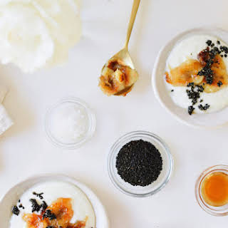 BANANA BRÛLÉE YOGURT WITH BLACK SESAME BRITTLE..