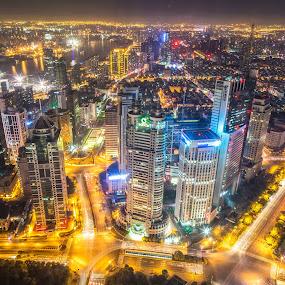 Shanghai Bling by Madhujith Venkatakrishna - City,  Street & Park  Night (  )