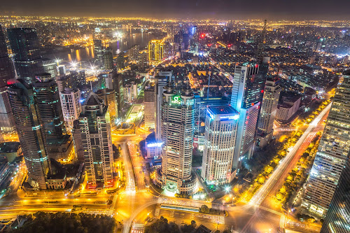 Shanghai Bling by Madhujith Venkatakrishna - City,  Street & Park  Night (  )