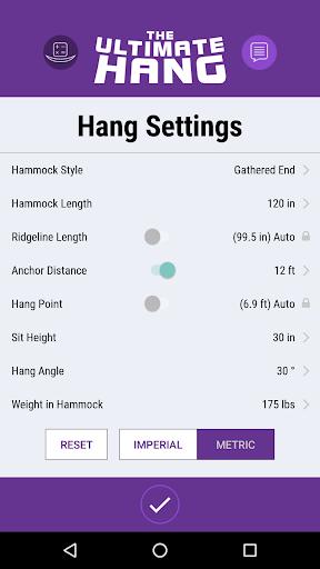 Hammock Hang Calc app for Android screenshot
