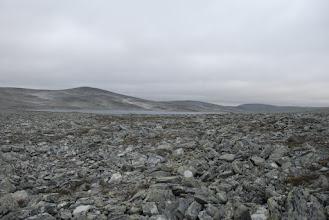 Kuva: Gieddejavri, todella karussa ympäristössä. Laskujoki virtailee jossain täällä kivien alla, ääni kuuluu, mutta vettä ei näy