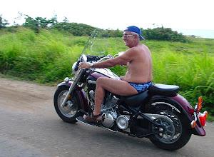 Photo: pedro rides yamaha road star motorcycle in tarara, cuba. Tracey Eaton photo.