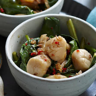 Scallops in XO Sauce with Chinese Kale and Pak Choi.