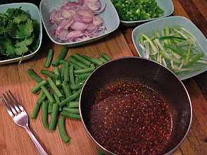 "Photo: hot-and-sour sauce and other ingredients for bean thread ""lahb"""