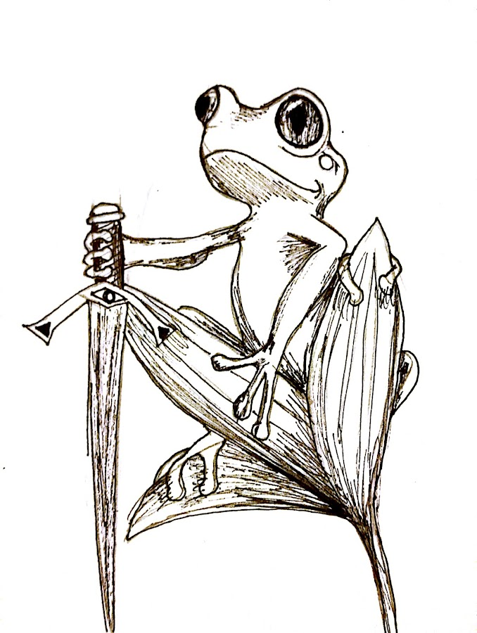 Stoic Froggo by Melissa Toothman - Drawing All Drawing ( stoic, frog, warrior, swordsman, tree frog )