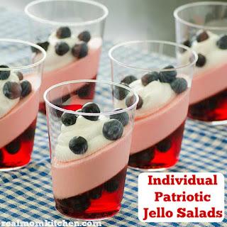 Individual Patriotic Jello Salads.