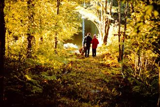 Photo: Fred? and gram-ma Kezar walking down to the lake.
