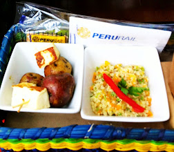 Photo: Small meal on Peru Rail.  Potato and Andean cheese skewers; quinoa tabbouleh salad; biscuits.