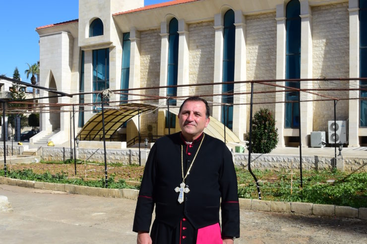 Syria, Tartous, 26 January 2016Bishop Antoine Chbeir in the garden and in front of the Cathedral
