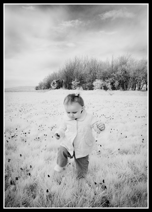 Infrared tip toe by Peter Hearn - Babies & Children Toddlers ( infrared b&w clouds toddlers )