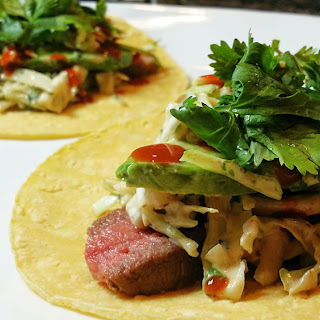 Steak Tacos with Yogurt Lime Slaw