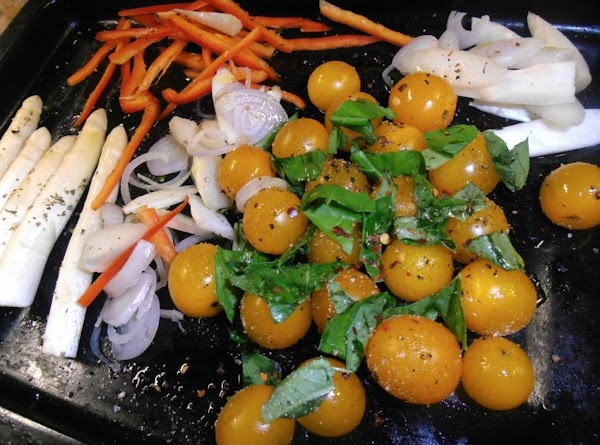 season veggies with remaining olive oil, salt & pepper and garlic.  in a...