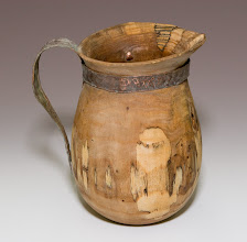 "Photo: Ed Karch - elm tankard with beaten copper handle, ~8"" x 5"""