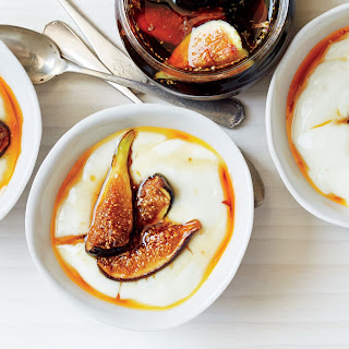 Milk Pudding with Rose Water Caramel and Figs