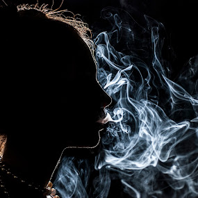 Smoke by Nikola Bogdanic - People Fine Art ( cigar, girl, silhouette, portrait, smoke )